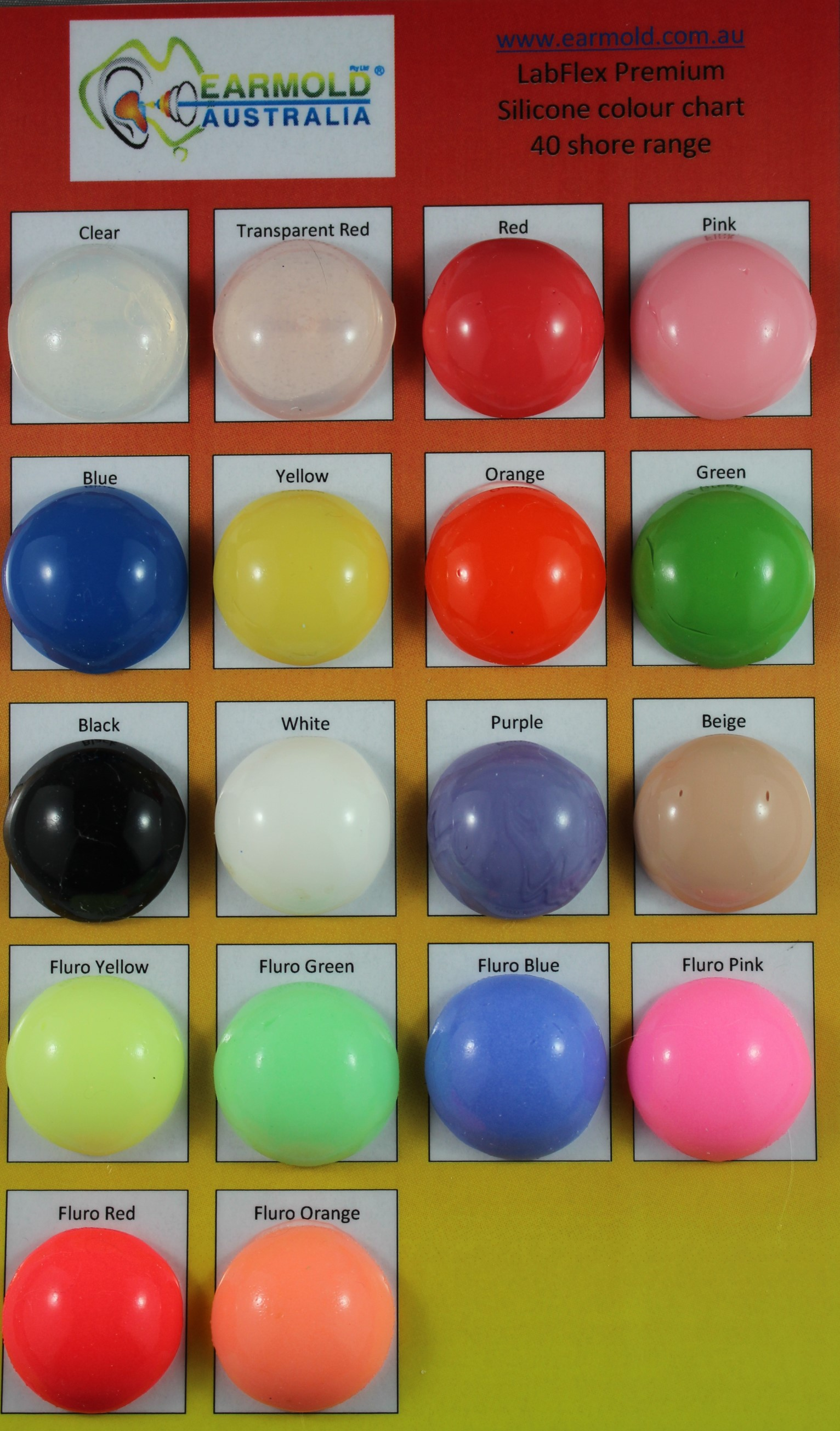 LabFlex 40 Shore colour chart